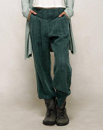 素缕souline绿色中腰收脚休闲裤sl54260066图片
