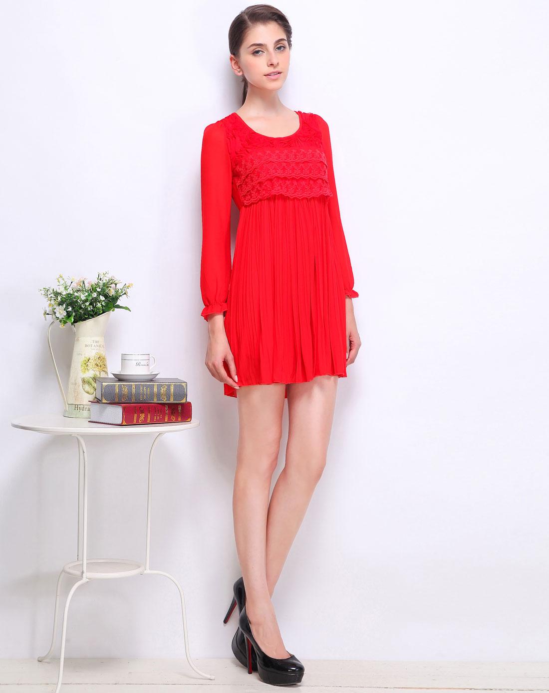 久拉拉jiulala女款红色蕾丝拼雪纺长袖连衣裙3656111