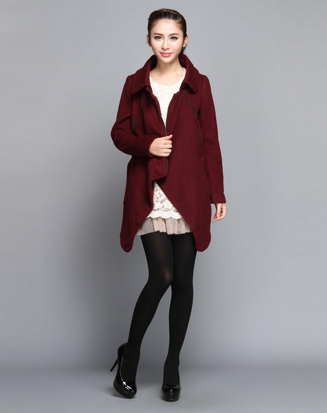 酒红色长袖大衣-30