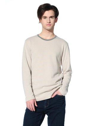 真维斯jeanswest男男款杏色休闲百搭条纹长袖针织衫