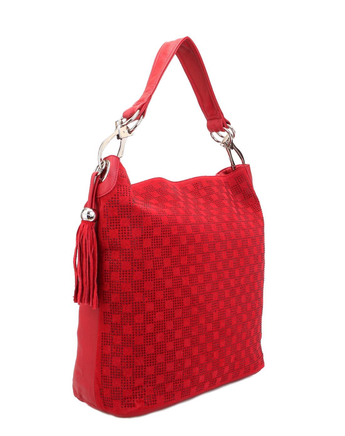凯丝莱尔k style红色日韩磨砂质感手拎单肩斜挎