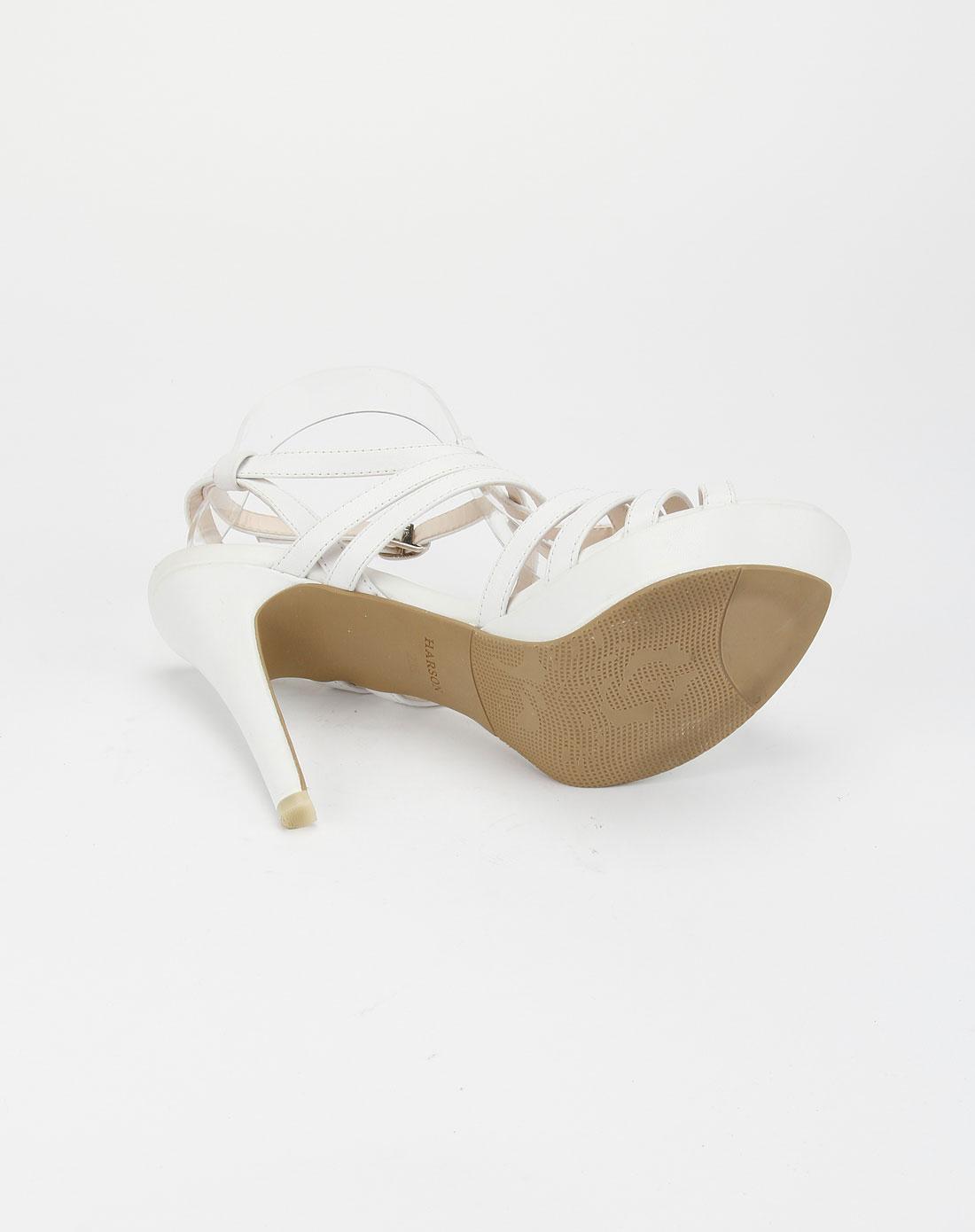 白色头层牛皮凉鞋hm01427