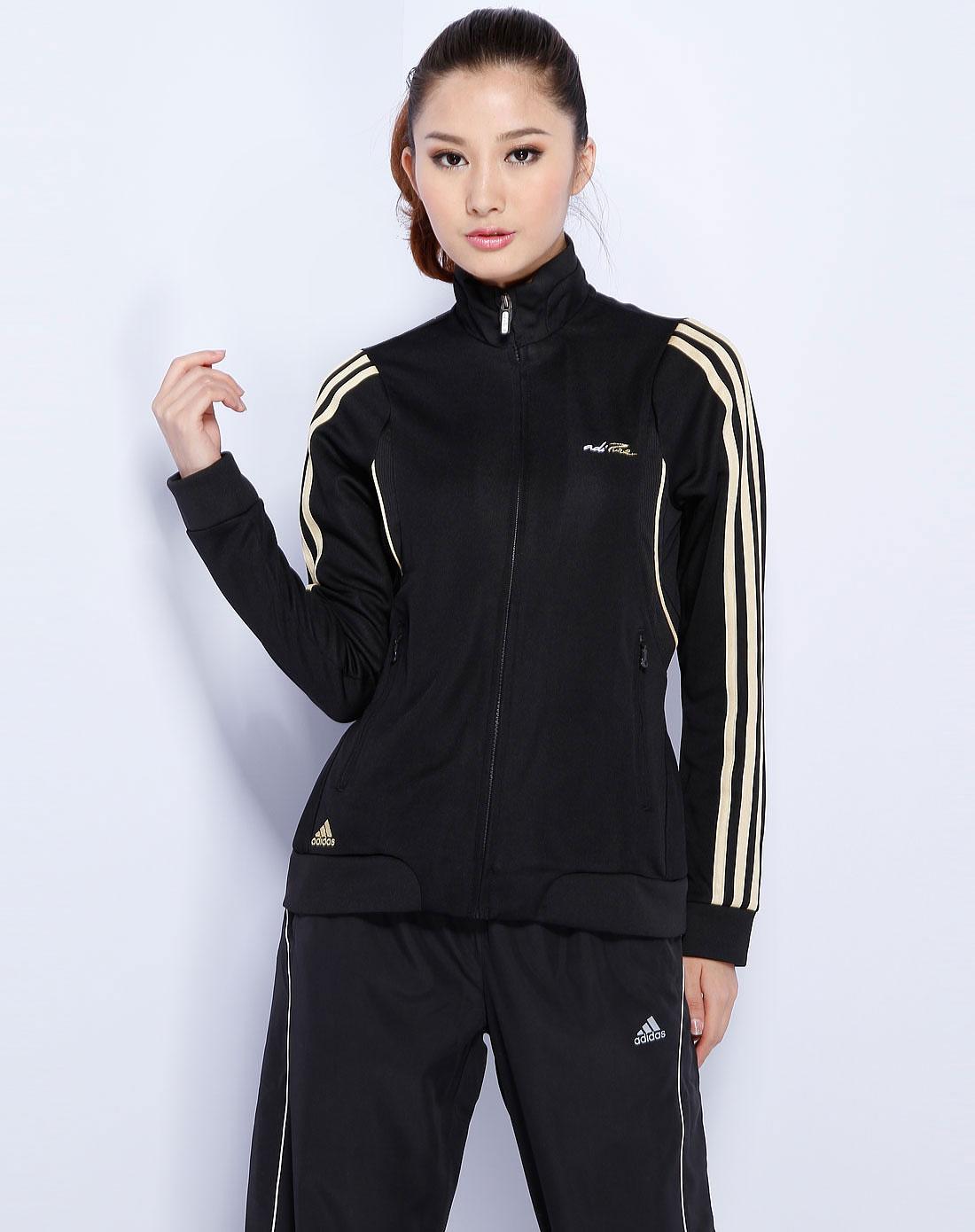 阿迪达斯adidas女款黑/金色运动长袖外套e18470