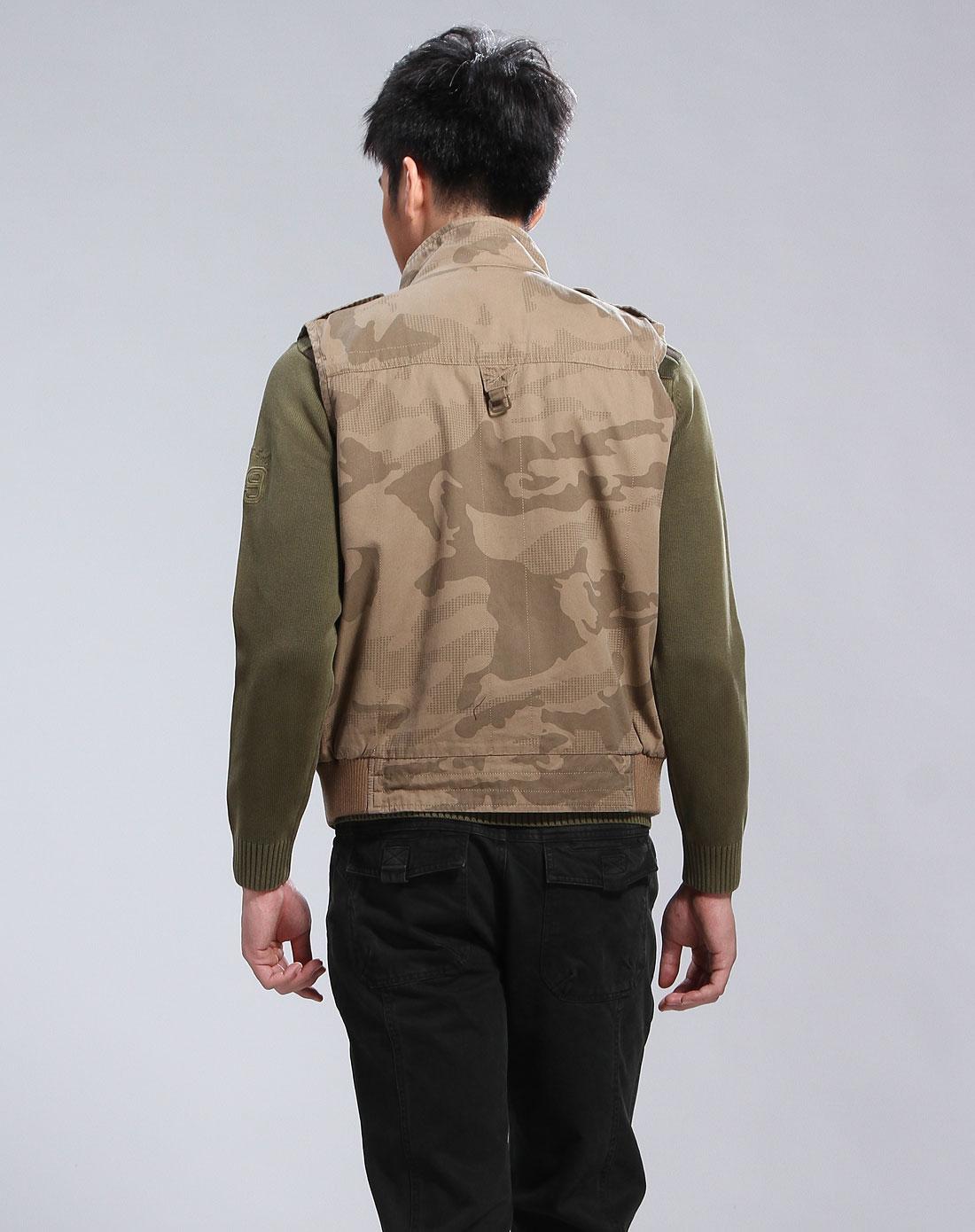 德意志山峰男款卡其色时尚迷彩马甲f15060010260