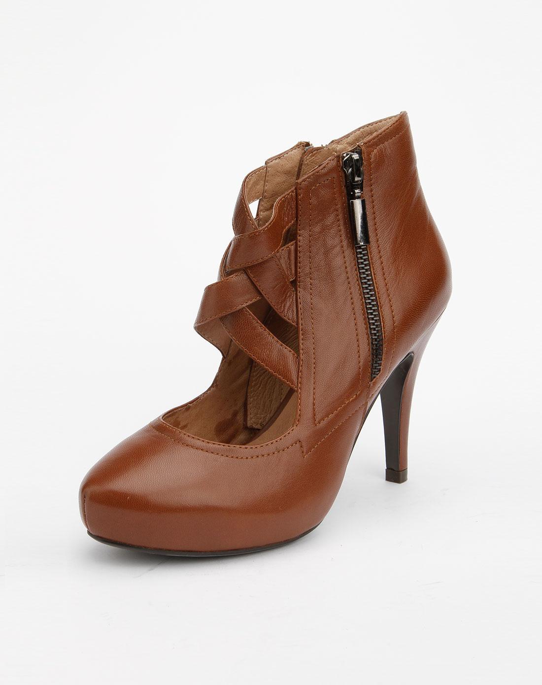 菲伯丽尔fbl女款浅咖啡色镂空高跟鞋fba3sf450122