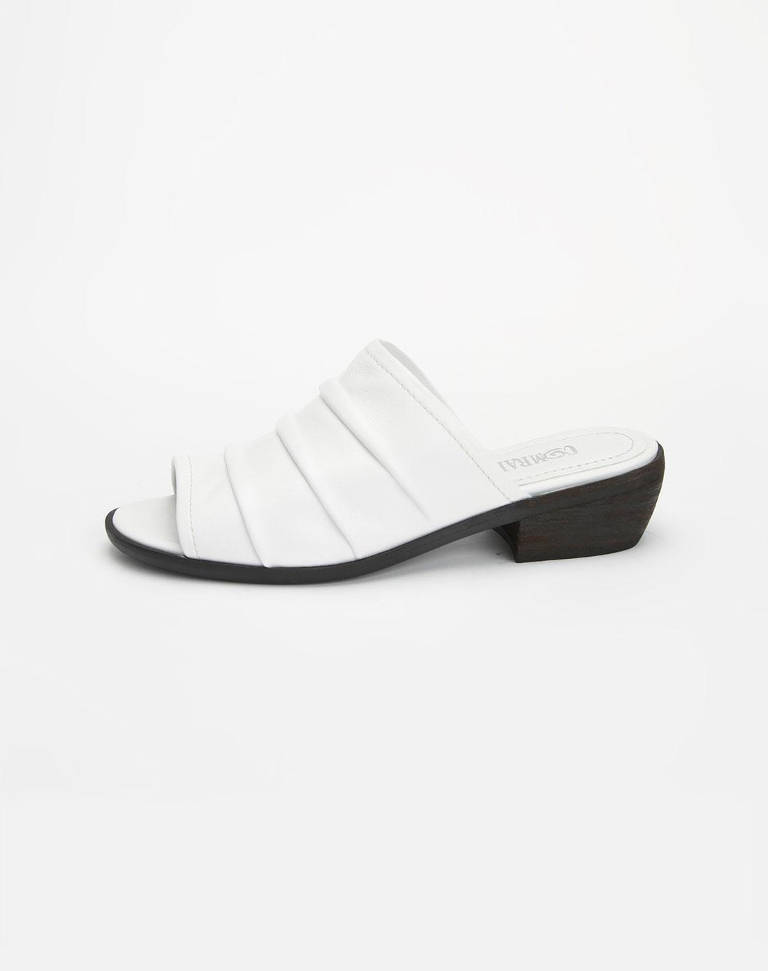 康莉comely头层白色绵羊皮圆头休闲拖鞋110420002wtl