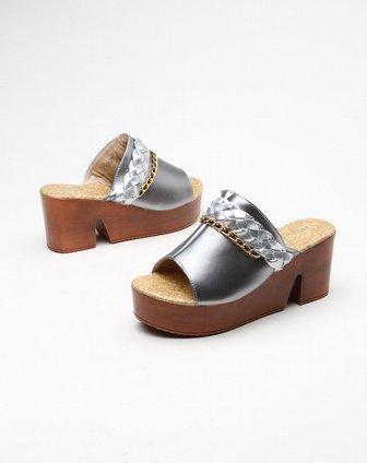 farlos编织带装饰日风银灰色高跟凉鞋fl