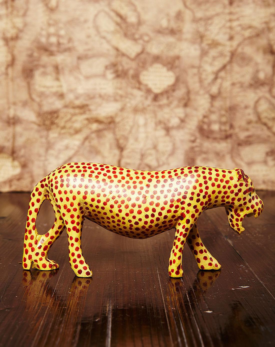 【非洲进口】猎豹.特级黄桑木手工雕刻