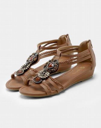 波西米亚小坡跟凉鞋