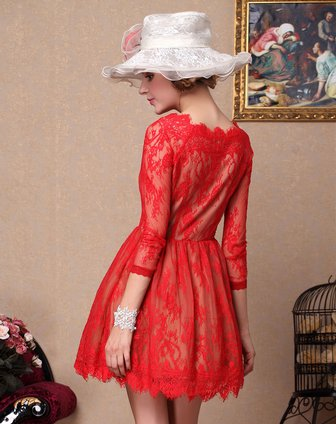 贝茜bessie红色浪漫蕾丝长袖连衣裙bs13sd098z02