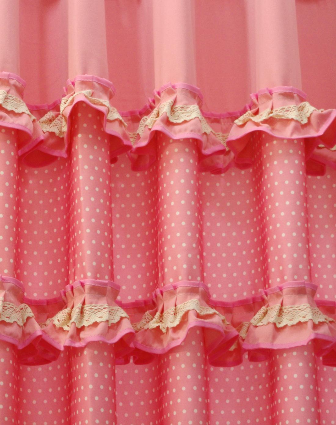 伊加yoga韩式花边布艺窗帘之粉色日记1a101462