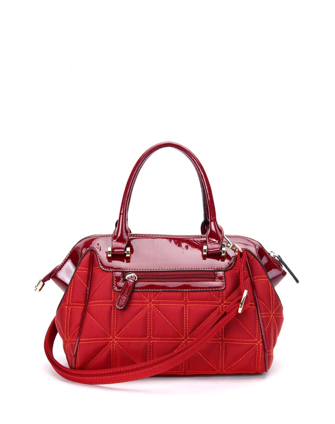梦特娇montagut女款酒红色横款方形手提包mv13850