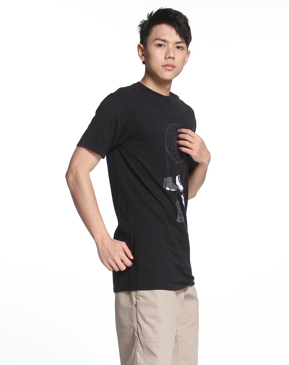 耐克nike男款鞋子图案黑色圆领短袖t恤373878-010