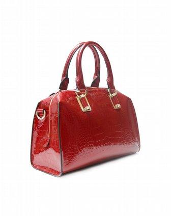意大利鲨鱼vishark男女包女款红色定型手提包ds