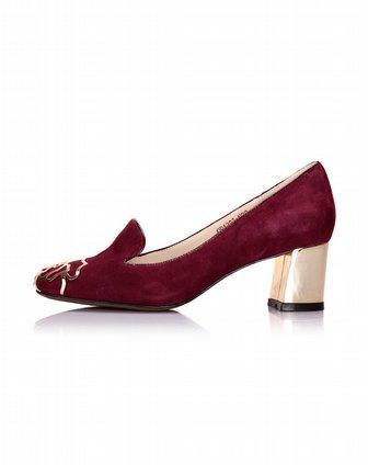 color酒红色羊猄时尚粗跟单鞋ws2853305