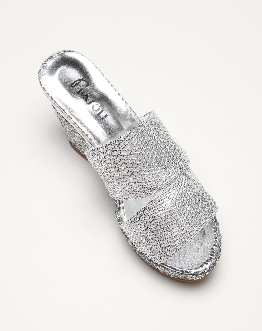 fasoli男女鞋女款网格时尚银色高跟凉拖鞋e13203