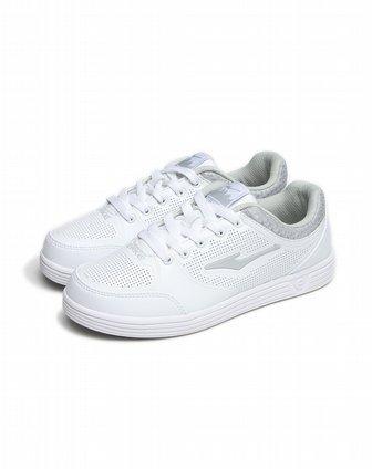 鸿星尔克erke男女女款白色冲孔简约休闲滑板鞋-001