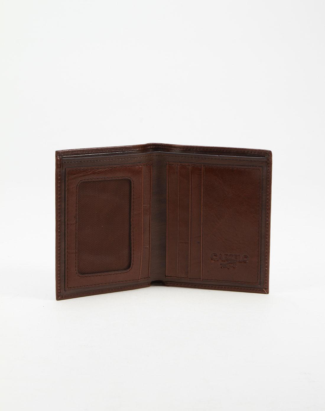 卡帝乐鳄鱼 ] 男款浅黄啡色个性标志钱包