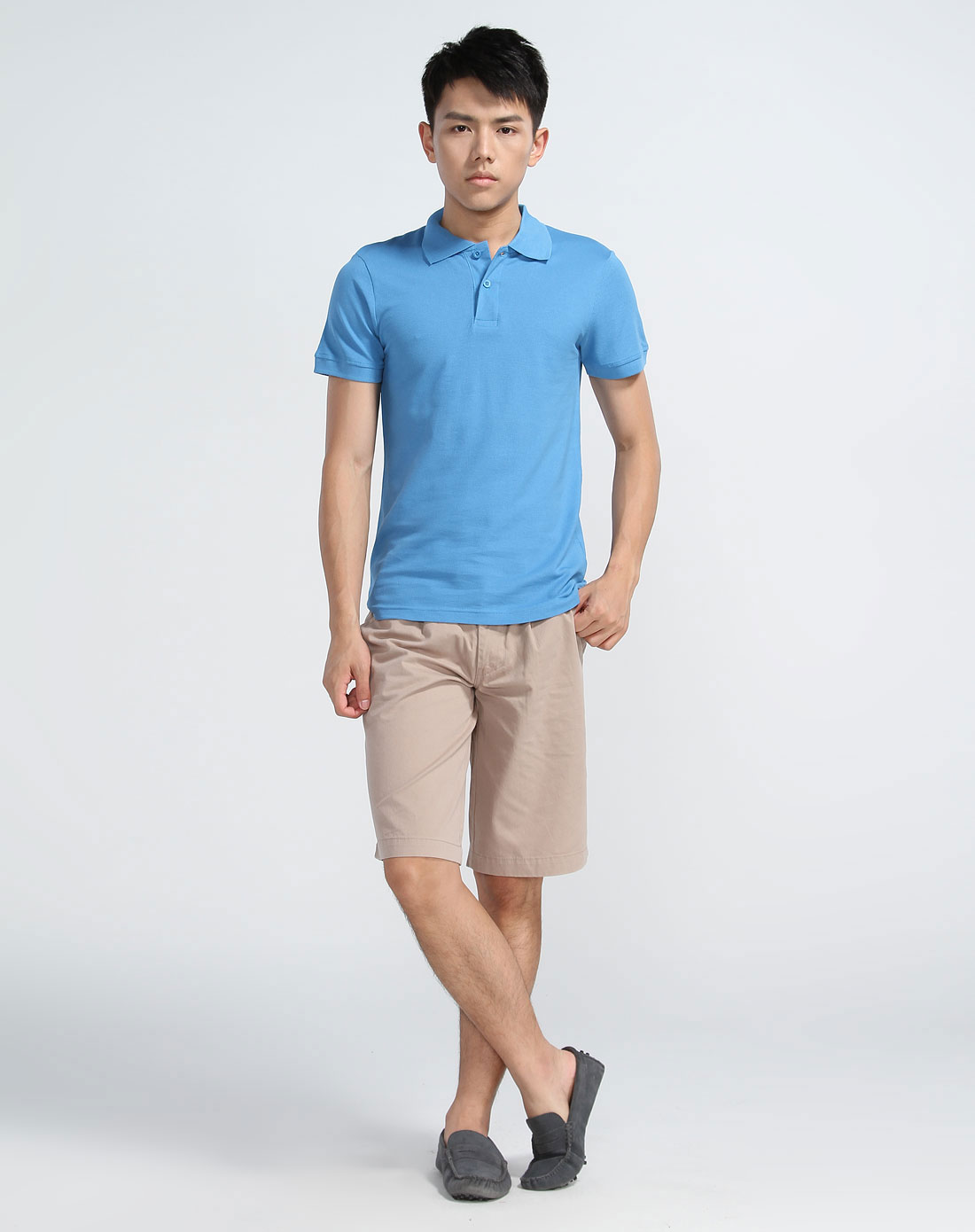 redoute纯色蓝色短袖polo衫yc430-44