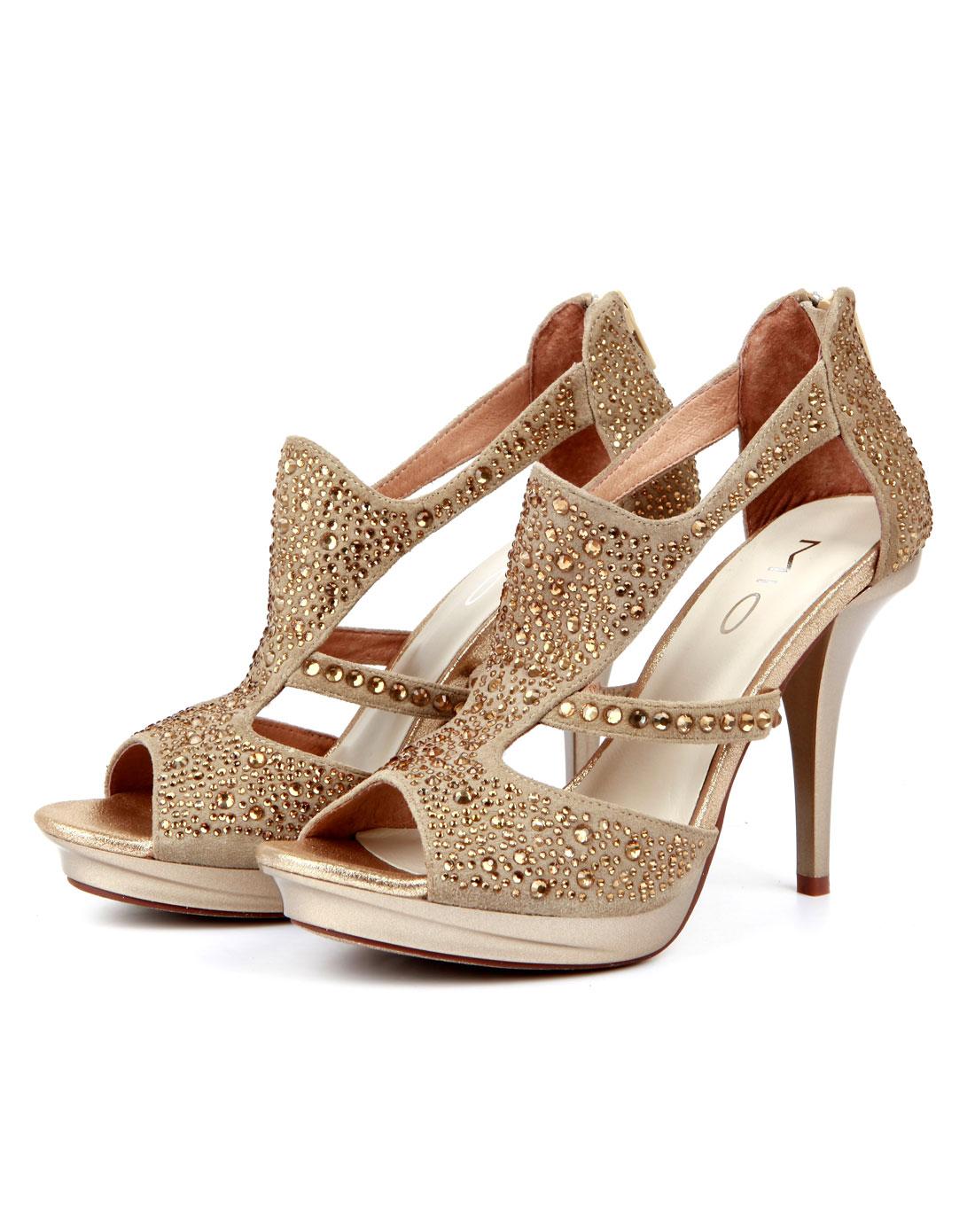 米奥mio金色明星款奢华点钻高跟单跟凉鞋m123107007