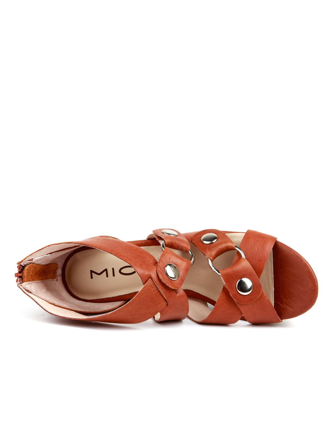 米奥mio棕色明星款朋克风高跟水台凉鞋m123161415c05