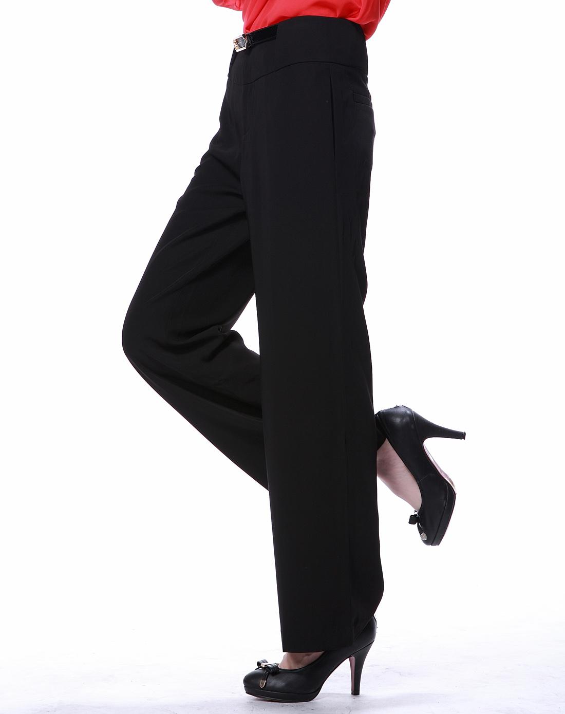 伊芙丽eifini黑色韩版修身百搭阔腿裤1215098黑色